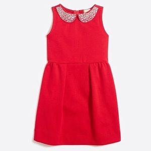 JCREW Girls' jeweled collar red ponte dress